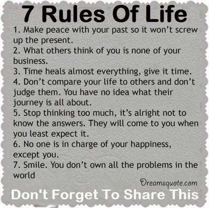 Quotes Deep: Positive Quotes About Life ' The 7 Rules Of Life, Deep