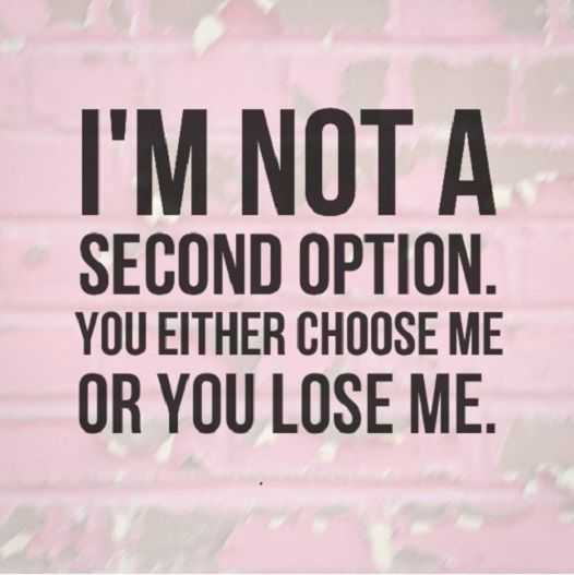 Inspirational Quotes about life sayings If You Lose Me, I'm Not A Second Option life thoughts
