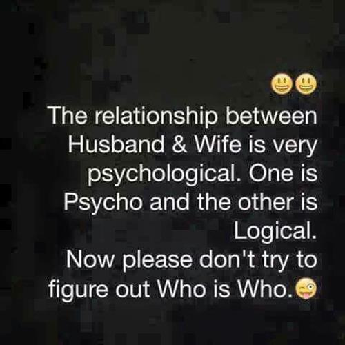 """relationship wife memes and funny memes - My wife has a couple of well-known meme accounts. In the relationship between Husband and Wife, it is very psychological. A clear one is """"Psycho"""" and an ambiguous one is """"Logical."""" That is all. You may stop trying to figure out who is who."""