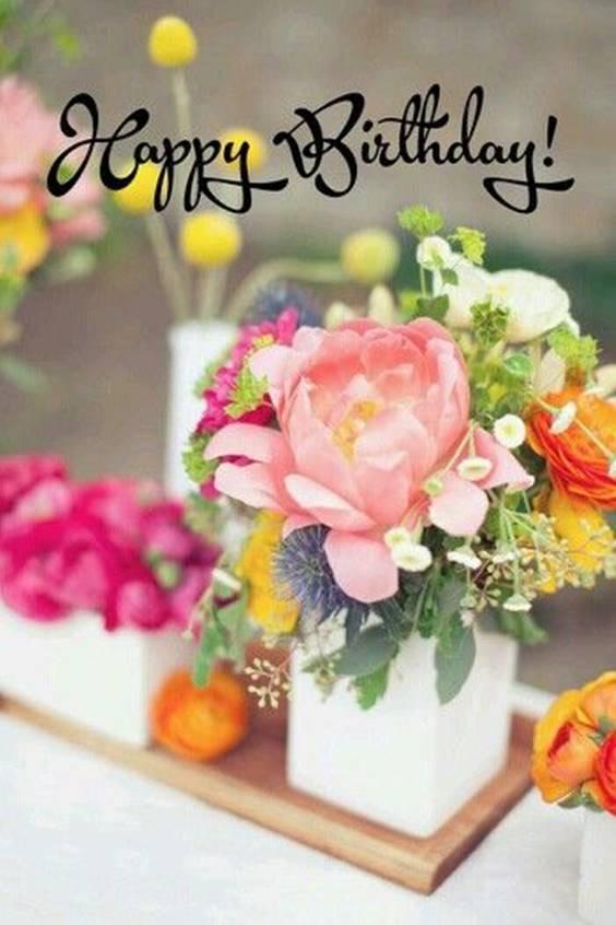 pink happy birthday flowers